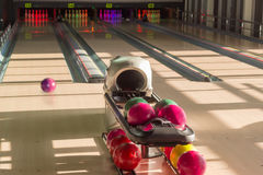 Playing area in the modern pin bowling alley Royalty Free Stock Photo