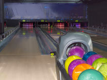 Playing area in the modern pin bowling alley Stock Images