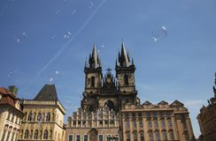 Playing around with bubbles. Bubbles in front of the Church of Our Lady of Tyn, one of the famous sights in Prague, Czech Republic Stock Images