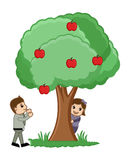 Playing Around Tree - Vector Royalty Free Stock Photo