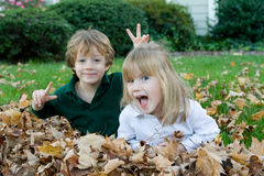 Playing in the autumn leaves Stock Photo