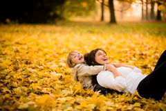 Playing in autumn time Royalty Free Stock Images
