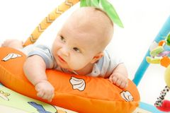 Playing baby over white. Background Stock Photos