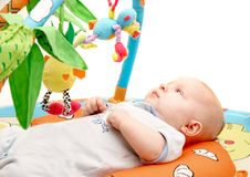 Playing baby over white. Background Royalty Free Stock Photo