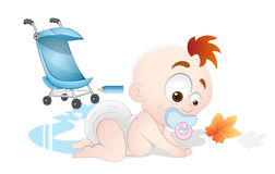 Playing Baby Vector. Beautiful Lovely Design Art of Playing Baby Vector Illustration Royalty Free Stock Photo