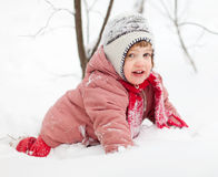 Playing baby in winter Royalty Free Stock Photo