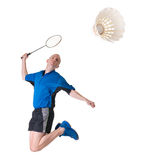 Playing badminton. Full isolated picture of a caucasian man playing badminton Royalty Free Stock Photo