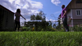 Playing badminton stock video footage