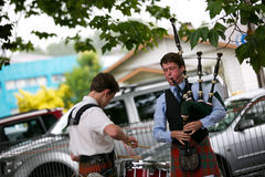Playing the bag pipes. Stock Photo
