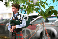 Playing the bag pipes. Royalty Free Stock Photos