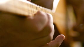 Playing baglama Turkish string music instrument. stock footage
