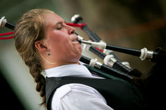 Playing the bagpipes. Stock Photos