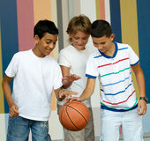 Playing ball . Children playing with a ball royalty free stock photography