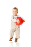 Playing Ball. Boy Playing with Ball isolated Royalty Free Stock Images