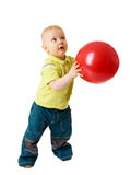 Playing Ball. Little boy Playing Ball isolated Stock Photos