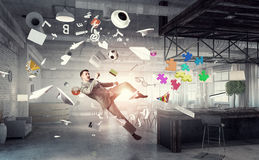 Playing ball in office Royalty Free Stock Photos
