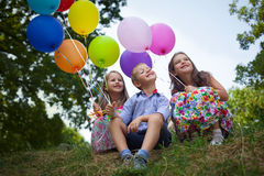 Playing with balloons Stock Photography