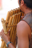 Playing bamboo flute. American indian playing music on bamboo flute Royalty Free Stock Images
