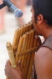 Playing bamboo flute stock photo