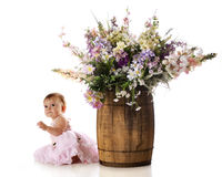 Playing by a Barrel of Flowers Stock Image