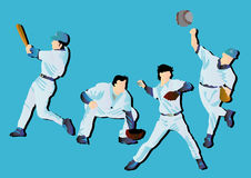 Playing Baseball. Cartoon vector illustration of a person playing baseball Stock Photo