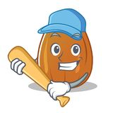 Playing baseball almond nut character cartoon Stock Photos