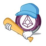 Playing baseball Augur coin character cartoon. Vector illustration Royalty Free Stock Images