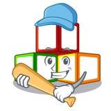Playing baseball bright toy block bricks on cartoon