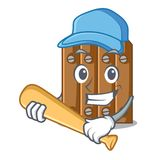 Playing baseball brown wooden fence isolated on character stock illustration