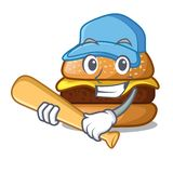 Playing baseball cheese burger isolated on a mascot royalty free illustration