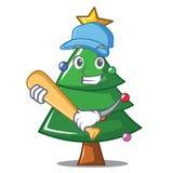 Playing baseball Christmas tree character cartoon. Vector illustration Royalty Free Stock Image