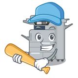 Playing baseball copier machine in the cartoon shape. Vector illustration royalty free illustration