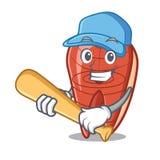 Playing baseball fish slice character cartoon. Vector illustration Stock Image
