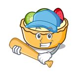 Playing baseball fruit tart character cartoon Stock Photography
