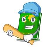 Playing baseball green passport in a character bag. Vector illustration royalty free illustration