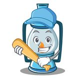 Playing baseball lantern character cartoon style Royalty Free Stock Image