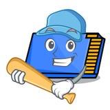 Playing baseball memory card character cartoon. Vector illustration stock illustration