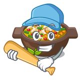 Playing baseball minestrone isolated with in the cartoon vector illustration
