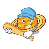 Playing baseball planet saturnus character cartoon stock illustration
