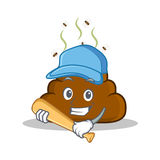 Playing baseball Poop emoticon character cartoon