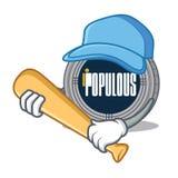 Playing baseball populous coin character cartoon stock illustration