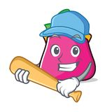 Playing baseball purse character cartoon style. Vector illustration Stock Images
