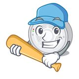 Playing baseball smoke detector attached the character wall stock illustration