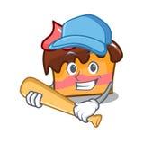 Playing baseball sponge cake character cartoon. Vector illustration Stock Images