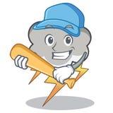 Playing baseball thunder cloud character cartoon. Vector illustration Stock Image