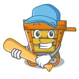 Playing baseball wooden trolley character cartoon. Vector illustration stock illustration