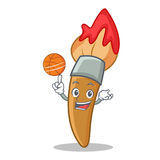 Playing basketball paint brush character cartoon. Vector illustration Stock Photography