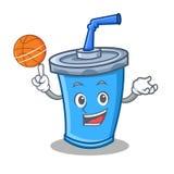 Playing basketball soda drink character cartoon Stock Image