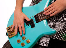 Playing bass guitar Stock Image