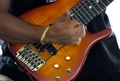 Playing bass guitar (jazz). Man playing 7 strings bass guitar , jazz, solo. (smouth jazz 105.9 Stock Photos
